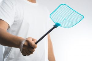 man with fly swatter